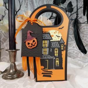 Halloweenbox  kísértetház tatyó ajándékátadó táska díszdoboz, köszöntő ajándékkosár: HMB2107_13, Otthon & Lakás, Papír írószer, Ajándékzsák & Csomagolás, Papírművészet, Meska