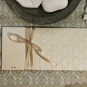 Letisztult elegancia - Vajszínű pénzátadó, pénzajándék átadó boríték: HMB2107_45, Esküvő, Emlék & Ajándék, Nászajándék, Mérete:  21 x10.5 cm  Pénzajándékodat, vagy az ajándékkísérő üzeneted helyezheted el ebbe a minőségi..., Meska