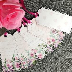 Romantikus virágos 5 db-os ajándékkísérő kártya csomag, kísérőkártya : HMB2108_15, Otthon & Lakás, Papír írószer, Ajándékkísérő, Papírművészet, Meska