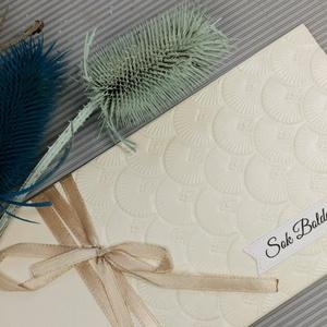 Letisztult elegancia - Felííratos Vajszínű pénzátadó, pénzajándék átadó boríték: HMB2107_45_F, Esküvő, Emlék & Ajándék, Nászajándék, Papírművészet, Meska
