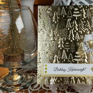 Arany pénzátadó Karácsonyi zsebes ajándékkísérő üdvözlőlap szatén szalaggal, borítékkal:  HMB2110_67 - Meska.hu