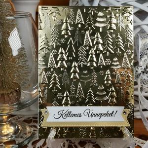 Arany pénzátadó Karácsonyi zsebes ajándékkísérő üdvözlőlap szatén szalaggal, borítékkal:  HMB2110_68 - Meska.hu