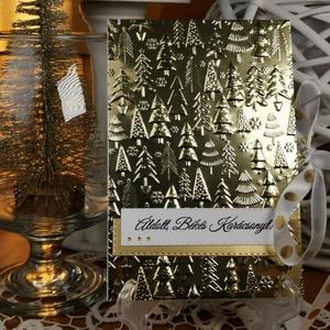 Arany pénzátadó Karácsonyi zsebes ajándékkísérő üdvözlőlap szatén szalaggal, borítékkal:  HMB2110_69 - Meska.hu