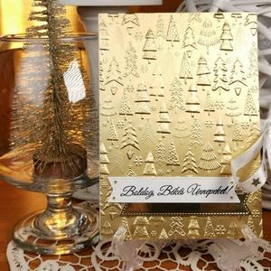 Arany pénzátadó Karácsonyi zsebes ajándékkísérő üdvözlőlap szatén szalaggal, borítékkal:  HMB2110_70 - Meska.hu