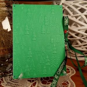 Karácsonyi Pénzátadó zsebes ajándékkísérő üdvözlőlap szatén szalaggal, borítékkal:  HMB2110_78, Karácsony, Karácsonyi ajándékozás, Karácsonyi ajándékcsomagolás, Papírművészet, Meska