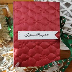 Gyöngyházfényes zsebes pénzátadó, mikulás virág dombormintával, szalaggal, borítékkal:  HMB2110_90, Karácsony, Karácsonyi ajándékozás, Karácsonyi ajándékcsomagolás, Papírművészet, Meska
