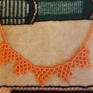 Vidám nyári narancs nyaklánc., Ékszer, Nyaklánc, Gyöngyös nyaklác, Ékszerkészítés, Gyöngyfűzés, gyöngyhímzés, Narancssárga színű gyöngyszövéssel készült nyaklánc. A hossza 40 cm + 4 cm-rel hosszabbítható...., Meska
