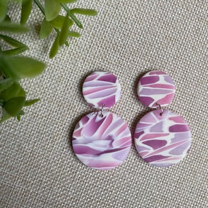 HANNA rózsaszín mozaik gyurma fülbevaló, Ékszer, Fülbevaló, Lógós kerek fülbevaló, Ékszerkészítés, Gyurma, Kézzel készült egyedi fülbevaló, rózsaszín, lila és fehér színű süthető ékszergyurma felhasználásáva..., Meska