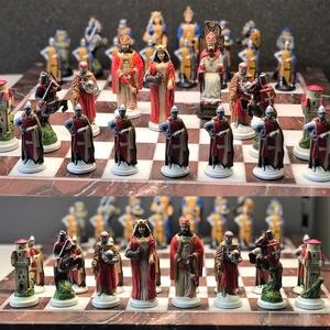sakk készlet : Handmade Pewter Chess Sets Knight Crusade - hand painted, Játék, Gyerek & játék, Társasjáték, Magyar motívumokkal, Táska, Divat & Szépség, Ékszer, Fémmegmunkálás, Festett tárgyak, Pewter Handmade Chess Set Templars - hand painted,\ninspired by the period of Templar expeditions to ..., Meska