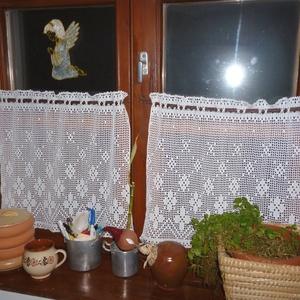 Francia vidéki romantika.- horgolt fehér csipke függöny, Otthon & lakás, Dekoráció, Lakberendezés, Lakástextil, Függöny, Egy kicsit absztrakt mintás,de még is francia vidéki stílust képvisel ez a csipke függöny. Mérete:42..., Meska