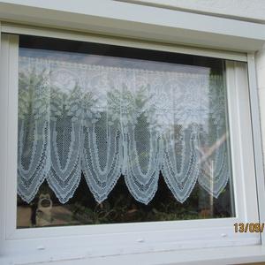 Rózsás art decós horgolt vitrázs fehér függöny (HANDMAKE) - Meska.hu