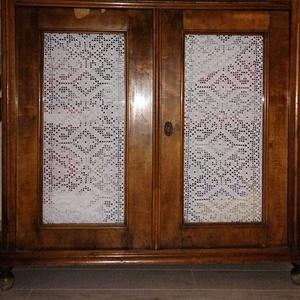 Rusztikus vonzalom- Fehér,rusztikus mintás,horgolt csipke függöny, Dekoráció, Otthon & lakás, Lakberendezés, Lakástextil, Függöny, Horgolás, Ezek a szép kis csipke függönyök,egy régi örökölt örök divatú kis szekrényke ajtajára készültek.A re..., Meska