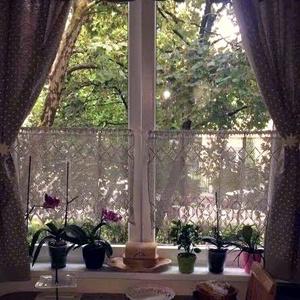 Pókhálós őszi virágok-Antik hatású,len horgolt virágos-absztrak mintás függöny (HANDMAKE) - Meska.hu
