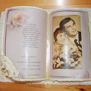 Fotó Díszkönyv Házassági évfordulóra, Esküvő, Nászajándék, Szerelmeseknek, Ünnepi dekoráció, Dekoráció, Otthon & lakás, Naptár, képeslap, album, Papírművészet, Hátoldalán támasztékkal készült díszkönyveimet két méretben készítem.\nNem lapozható, csak a felső ké..., Meska