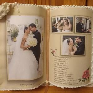 Fotó Díszkönyv Esküvőre, Naptár, képeslap, album, Otthon & lakás, Szerelmeseknek, Ünnepi dekoráció, Dekoráció, Esküvő, Nászajándék, Papírművészet, Hátoldalán támasztékkal készült díszkönyveimet két méretben készítem.\nNem lapozható, csak a felső ké..., Meska