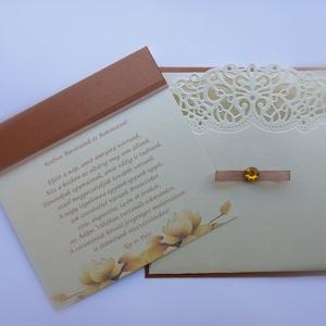 Esküvői meghívó + boríték, Esküvő, Meghívó, ültetőkártya, köszönőajándék, Papírművészet, Esküvői meghívókat, felkérőket, ültetőket, szalvétagyűrűket, ajándék- és pénz átadókat készítek egye..., Meska