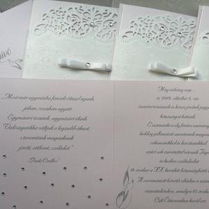 Esküvői meghívó + boríték, Meghívó, Meghívó & Kártya, Esküvő, Papírművészet, Esküvői meghívókat, felkérőket, ültetőket, szalvétagyűrűket, ajándék- és pénz átadókat készítek egye..., Meska