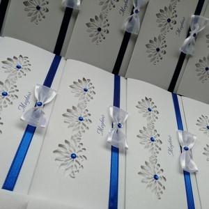 Esküvői Meghívó, Meghívó, Meghívó & Kártya, Esküvő, Papírművészet, Prémium minőségű kartonból készült, három rét hajtott meghívó, színben és anyagban hozzáillő boríték..., Meska
