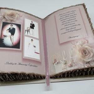 Fotó Díszkönyv Házassági évfordulóra, Album & Fotóalbum, Emlék & Ajándék, Esküvő, Papírművészet, Hátoldalán támasztékkal készült díszkönyveimet két méretben készítem.\nNem lapozható, csak a felső ké..., Meska