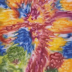 Kirobbanó energia, Festmény vegyes technika, Festmény, Művészet, Selyemfestés, 22x32 cm-es selyemre festett egyedi falikép. A megfestett selymet habkartonra feszítem, mely stabil ..., Meska