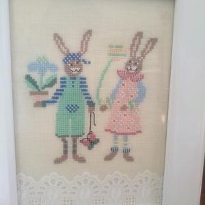 Nyuszipár - húsvéti kép (hardanger) - Meska.hu