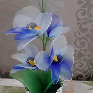 Orchidea harisnyából , Csokor & Virágdísz, Dekoráció, Otthon & Lakás, Virágkötés, Egy csodás színátmenetes harisnyából készült orchidea.\nMagassága 36 cm,van rajta 4 virág,3 bimbó...., Meska