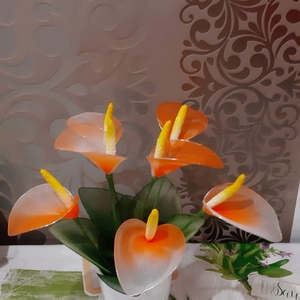 Kála harisnyából, Csokor & Virágdísz, Dekoráció, Otthon & Lakás, Virágkötés, Az egyszerűség és az elegancia egyvelege,ez a szépséges kála.\nFantasztikus színben pompázó,7 db virá..., Meska