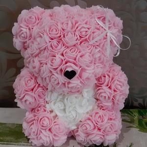Rózsamaci, Csokor & Virágdísz, Dekoráció, Otthon & Lakás, Mindenmás, Virágkötés, Bármilyen alkalomra adható gyönyörű rózsákból álló maci.\nMagassága 25 cm és 220 db szépséges habrózs..., Meska