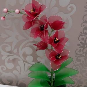 Orchidea bordó harisnyából, Otthon & Lakás, Dekoráció, Csokor & Virágdísz, Mindenmás, Virágkötés, Harisnyából készült bordó orchidea,mely 7 db virágot és 3 bimbóból készült,kb 45 cm-es magasságban.\n..., Meska