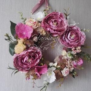 Mályva-pink színű mini selyemvirág kopogtató - Meska.hu