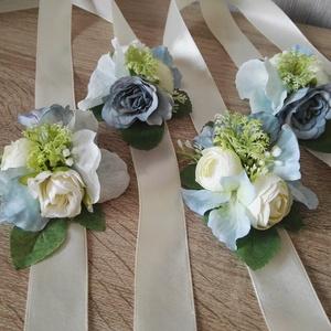 Csuklódísz SZETT esküvőre koszorúslányoknak menyasszonynak, Esküvő, Hajdísz, ruhadísz, Esküvői csokor, Esküvői dekoráció, Mindenmás, Virágkötés, SZETT: 4 db-ot tartalmaz\nAz esküvők egyik nélkülözhetetlen  kiegészítője a koszorúslányok csuklódísz..., Meska
