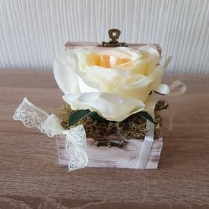 Gyűrűtartó doboz esküvőre, Esküvő, Kiegészítők, Gyűrűtartó & Gyűrűpárna, Mindenmás, A természetesség kedvelőinek ajánlom ezt a gyűrűtartó dobozt, mely csodálatos kiegészítője lehet esk..., Meska
