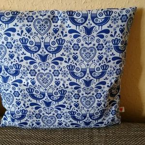 Népmesés párnahuzat - kék madárkák 40 x 40 cm, Párna & Párnahuzat, Lakástextil, Otthon & Lakás, Varrás, Romantikus puha és strapabíró dísz- vagy ülőpárna huzat\n\nHa kedveled a szép népi mintázatokat- vagy ..., Meska
