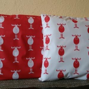 Karácsonyi mintás díszpárna huzat - Rudolf a rénszarvas, Otthon & Lakás, Lakástextil, Párna & Párnahuzat, Varrás, Romantikussá teszi már a lakás hangulatát az ünnepi készülődés időszakában.\n\nPrémium , dizájner vász..., Meska