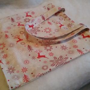 Karácsonyi Csodaszarvas - bevásárló szatyor Zérowaste - Anyaga erős Panama vászon, Táska & Tok, Bevásárlás & Shopper táska, Shopper, textiltáska, szatyor, Varrás, Egyedi tervezésű és egyedi készítésű szatyor a karácsonyi / mikulás ünnepekre készülve.\nerős panama ..., Meska