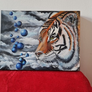 Álomtigris, Művészet, Festmény, Festmény vegyes technika, Festészet, Élénk színek jellemzik ezt az alkotást (is) :)\n3D-s feszített vászonra készült saját festmény vegyes..., Meska