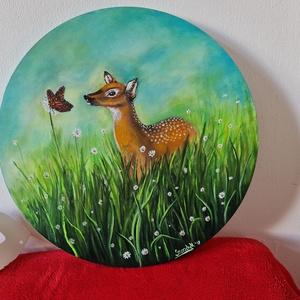 Bambi, Otthon & Lakás, Dekoráció, Kép & Falikép, Festészet, Aranyos, kedves, köralakú festmény, akár a gyerekszobába, akár a nappaliba.\nFeszített vászonra készü..., Meska