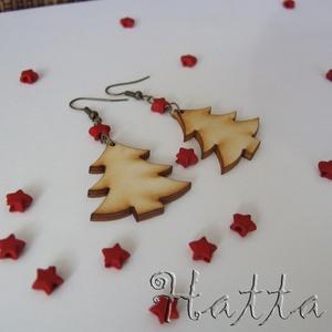 Erdei karácsony - fa fülbevaló (Hatta) - Meska.hu