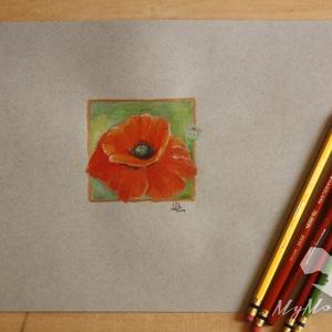 Pipacs - festmény, vegyes technikával, Akril, Festmény, Művészet, Festészet, Vegyes technikával készült pipacs.\nNagyon élénk színűre sikerült festeni. Kapott egy vékony arany sz..., Meska