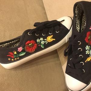 Kalocsai hímzéses cipő, Cipő, Cipő & Papucs, Ruha & Divat, Hímzés, 38-as méret, sötétkék, belső talphossz 25 cm. Kalocsai mintás vászoncipő, Meska