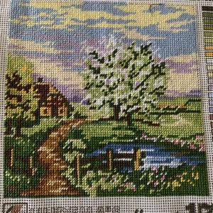 Gobelin - Tavaszi tájkép, Otthon & Lakás, Dekoráció, Kép & Falikép, Hímzés, 20 x 20 cm-es pasztell színű tavaszi kép. Keret nélküli, a környezet a stílushoz igazítható...., Meska