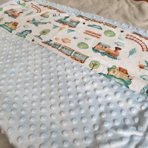 Minky baba takaró, Otthon & Lakás, Lakástextil, Takaró, Varrás, Kisvonatos mintával, főleg kisfiúknak, pamut és pihe-puha minky anyag felhasználásával készült babat..., Meska