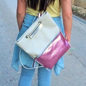 TEKLA bag törtfehér fényesrózsaszín bőr zsebes hátizsák (hegymegigabi) - Meska.hu