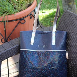 Mobile bag BEVEZETŐ AKCIÓ!  2 részes táska oldaltáska sötétkék-virágmintás alj (hegymegigabi) - Meska.hu