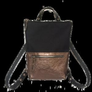 Tekla's bag hátitáska, táska fekete-bronz, Táska, Divat & Szépség, Táska, Hátizsák, TEKLA's hátitáska.  Cordura és marhabőr felhasználásával készült. mérete:  szélesség: 33 cm, alul 24..., Meska