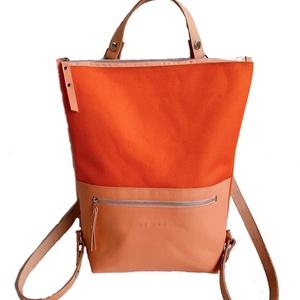 Tekla\'s bag hátitáska narancs-korall, Táska, Táska, Divat & Szépség, Hátizsák, Bőrművesség, Varrás, TEKLA\'s hátitáska.\n\nCordura és marhabőr felhasználásával készült.\nmérete: \nszélesség: 33 cm, alul 24..., Meska