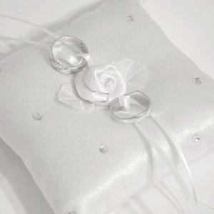 Szatén rózsás, strasszos gyűrűpárna, kicsi (heidy3) - Meska.hu