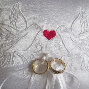 Szerelmes galambpár gyűrűpárna - nagy méret (heidy3) - Meska.hu