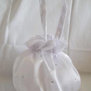 Strasszköves menyasszonyi szütyő, új, nagy, Táska, Kiegészítők, Esküvő, Varrás, Fényes szatén selyem anyagból készült klasszikus, buggyos menyasszonyi kis táska az apróságoknak, so..., Meska