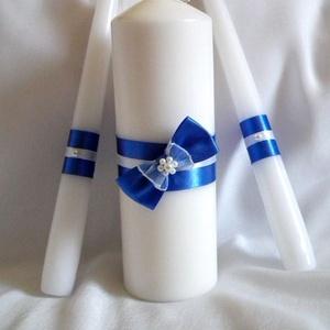 Masnis, gyöngyös ceremónia gyertyaszett, Esküvő, Esküvői szett, Varrás, Az esküvő egyik legszebb pillanatához, a gyertya ceremóniához szükséges három  gyertyából álló szett..., Meska